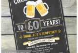 60 Surprise Birthday Invitations 60th Surprise Birthday Chalkboard Invitation Cheers Beers