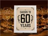 60 Year Old Birthday Decorations Party Supplies Cheers To Years Sign Printable