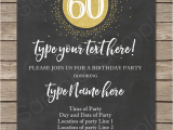 60th Birthday Celebration Invitations Chalkboard 60th Birthday Invitations Template Editable