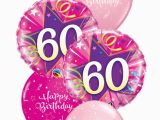 60th Birthday Flowers and Balloons Pink 60th Birthday Balloon Bouquet Party Fever