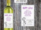 60th Birthday Gifts for Him Ebay Funny Alternative Sarcastic Wine Label 60th Birthday