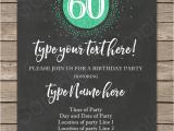 60th Birthday Invitation Template Chalkboard 60th Birthday Invitations Template Editable