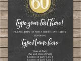 60th Birthday Invitation Wording Funny Chalkboard 60th Birthday Invitations Template Editable