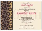 60th Birthday Invitation Wording Samples Cheetah 60th Birthday Invitations Paperstyle