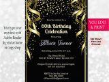 60th Birthday Invitations for Her 60th Birthday Invitation 60th Birthday Party Invitation 60th
