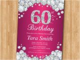 60th Birthday Invitations for Women 60th Birthday Invitation Women Pink Rhinestone Diamond