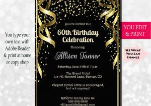60th Birthday Invite Ideas Invitation Party