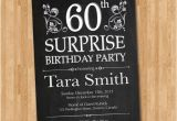 60th Birthday Invite Wording 60th Surprise Birthday Invitation Chalkborad Birthday Party