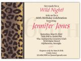 60th Birthday Invite Wording Cheetah 60th Birthday Invitations Paperstyle