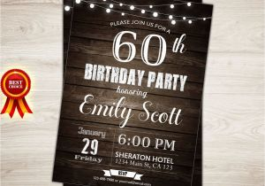 60th Birthday Party Invitations For Him 96 40th Men Vintage