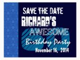 60th Birthday Save the Date Cards 60th Birthday Save the Date Blue Pattern Zazzle