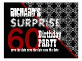 60th Birthday Save the Date Cards 60th Surprise Birthday Save the Date Diagonal W60f