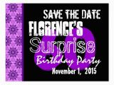 60th Birthday Save the Date Cards 60th Surprise Birthday Save the Date Purple Black Postcard