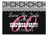 60th Birthday Save the Date Cards Save the Date Surprise 60th Birthday V010c Black Postcard