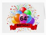 64th Birthday Card 64th Birthday Banner Balloons Greeting Card Zazzle