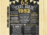 65 Birthday Gifts for Him Gold 65th Birthday Chalkboard 1952 Poster 65 Years Ago In