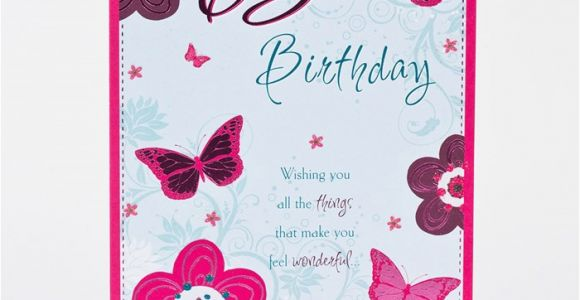 65th Birthday Cards Free Card Pink Butterflies Only 59p