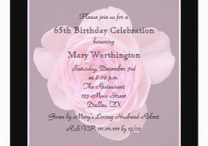 65th Birthday Invitation Wording Party Rose For 5 25