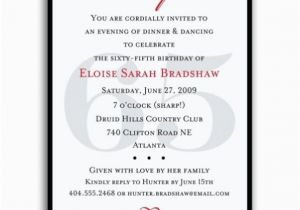 65th Birthday Invitation Wording Classic Red Surprise Invitations Paperstyle