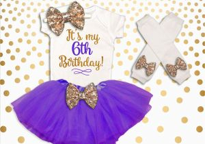 6th Birthday Girl Outfits 6th Birthday Outfit Girl Purple and Gold 6th Birthday Tutu Set