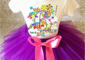 6th Birthday Girl Outfits Candyland Candy Pink Purple 6th Sixth Girl Birthday Tutu