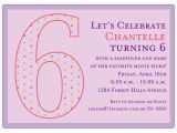 6th Birthday Party Invitation Wording 6th Birthday Girl Dots Invitations Paperstyle