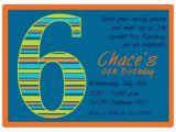 6th Birthday Party Invitation Wording Birthday Boy Stripes 6th Birthday Invitations Paperstyle