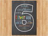 6th Birthday Party Invitation Wording Chalkboard 6th Birthday Invitation Sixth Birthday Invite