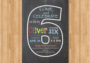 6th Birthday Party Invitation Wording Chalkboard Sixth Invite