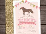 6th Birthday Party Invitation Wording Girl Pony Birthday Invitation 5th 6th 8th Birthday Glitter