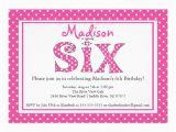 6th Birthday Party Invitation Wording Polka Dot Alphabet Sixth Birthday Party Invitation 5 Quot X 7
