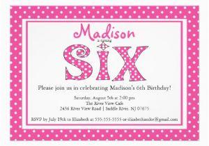 6th Birthday Party Invitation Wording Polka Dot Alphabet Sixth 5 Quot X 7