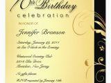 70 Birthday Invitation Wording 70th Birthday Party Elegant Gold Floral Invites 5 25