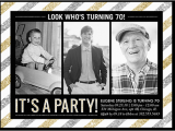 70 Year Old Birthday Invitations Striped Party 6×8 Stationery Card by Petite Lemon Shutterfly