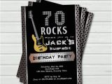 70 Year Old Birthday Invitations Surprise 70th Birthday Invitation 70 Rock and Roll Music