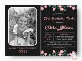 70th Birthday Cards to Print Photo Birthday Invitation 70th Birthday Invitation Printable