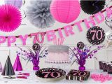 70th Birthday Decorations Supplies Pink Sparkling Celebration 70th Birthday Party Supplies