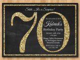 70th Birthday Invitation Card Sample 70th Birthday Invitation Gold Glitter Birthday Party