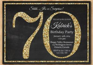 70th Birthday Invitation Card Sample Gold Glitter Party