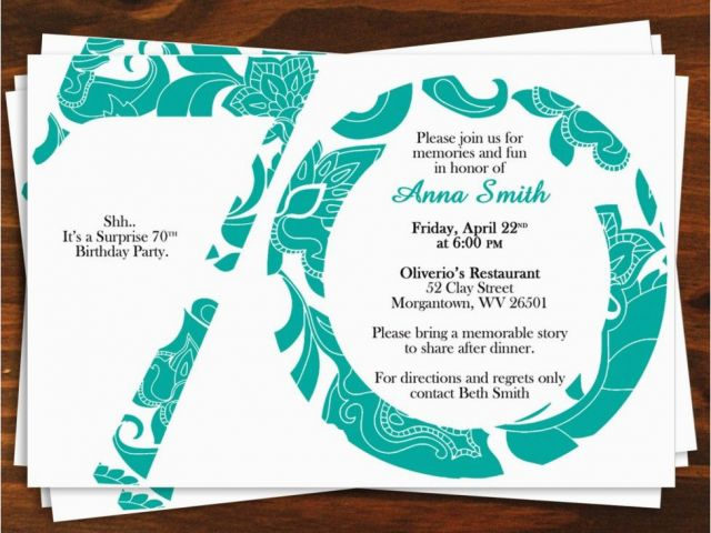 70th Birthday Invitation Card Sample