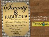 70th Birthday Invitation Card Sample Printable Gold Pearl 70th Birthday Invitation Card Seventy