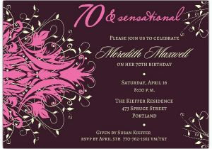 70th Birthday Invitations For Her Andromeda Pink Paperstyle