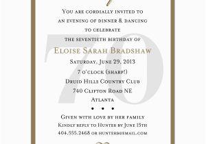 70th Birthday Invitations Wording Samples Party Invitation Cimvitation