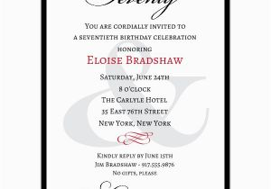 70th Birthday Invitations Wording Samples Classic Milestone Paperstyle