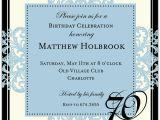 70th Birthday Invite Wording Decorative Square Border Blue 70th Birthday Invitations