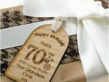 70th Birthday Presents for Him Unique 70th Birthday Gift Tag Label Wooden Keepsake 70th