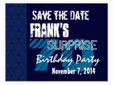 70th Birthday Save the Date Cards 70th Surprise Birthday Save the Date Blue Pattern Postcard