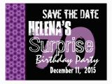 70th Birthday Save the Date Cards 70th Surprise Birthday Save the Date Purple Stars Postcard