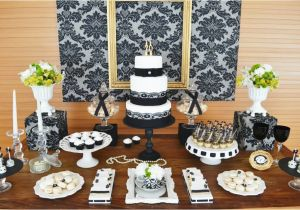 70th Birthday Table Decorations Gold Black Damask Party