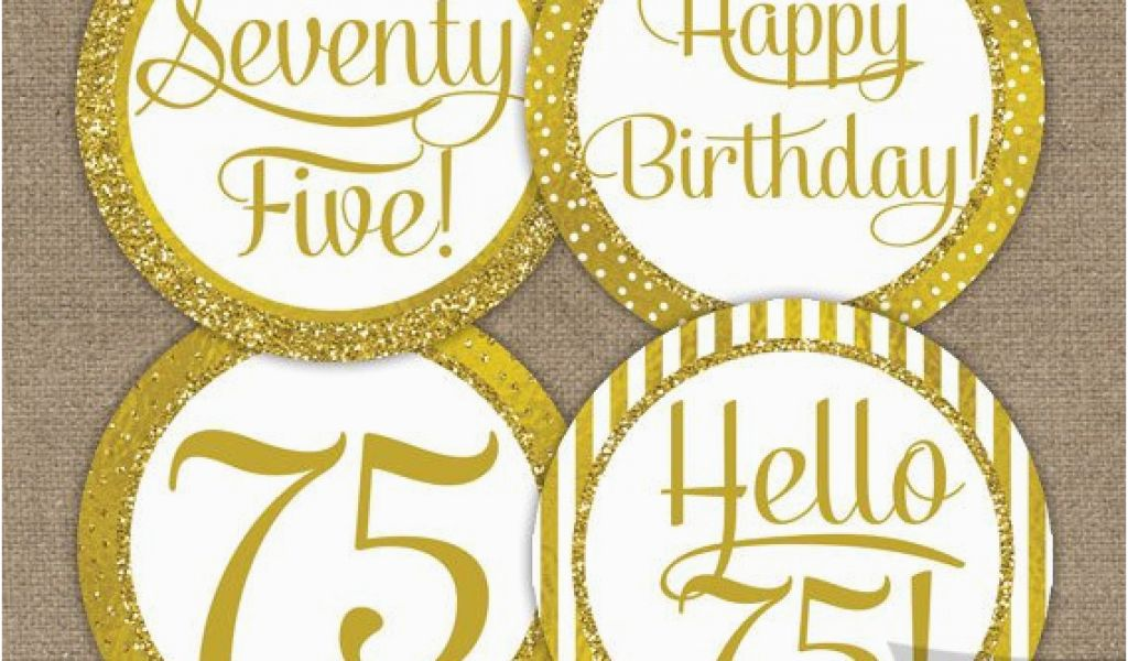 75 Birthday Decorations 75th Cupcake Toppers Gold